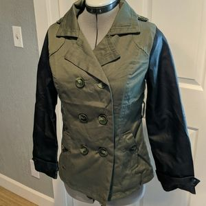 New military green and black pleather coat.